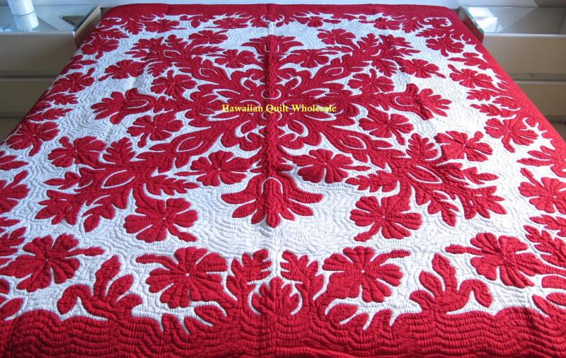 Hibiscus RED<br>2 pillow shams included<br> <font color=red>Superior Materials</font>